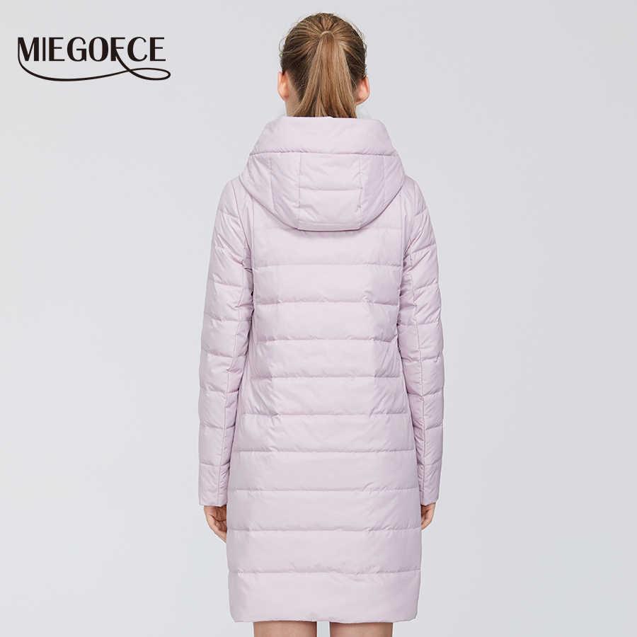 MIEGOFCE 2020 디자이너 새 봄 여성 컬렉션 여성 코 튼 자 켓 중간 긴 Windproof 코트 세련 된 여성 따뜻한 자 켓