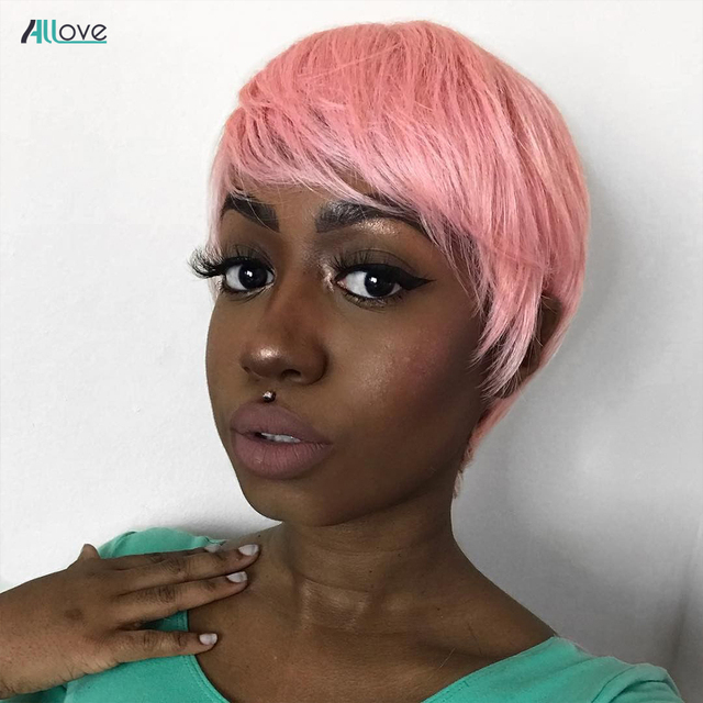 Hot Promo 40de6 Allove Pink Wig Short Pixie Cut Wig 150 Density Short Human Hair Wigs For Women Full Machine Made Colored Human Hair Wigs Cicig Co