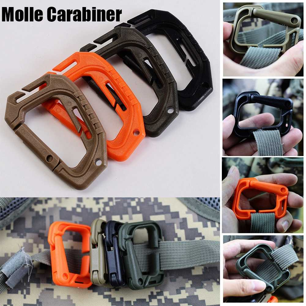 Attach Quickdraw Shackle Carabiner Clip Molle Webbing Backpack D-buckle Snap Lock Camping Hiking Mountain Climbing Accessories