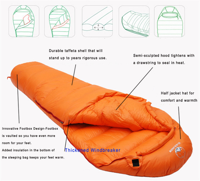 Very Warm White Goose down filled Adult Mummy style Sleeping bag Fit for Winter Thermal 4 kinds of thickness Camping Travel 5