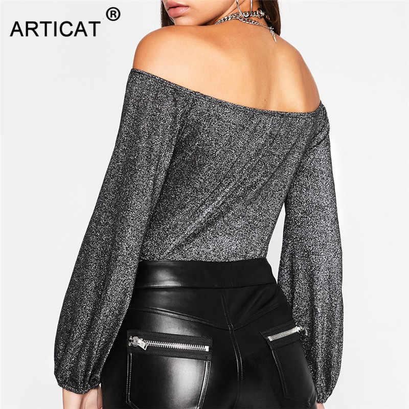 فستان من Articat مثير مائل للعنق سباركلي بأكمام طويلة مكشوف الأكتاف مكشوف الظهر ثوب فضفاض للمرأة ملابس ربيع 2020