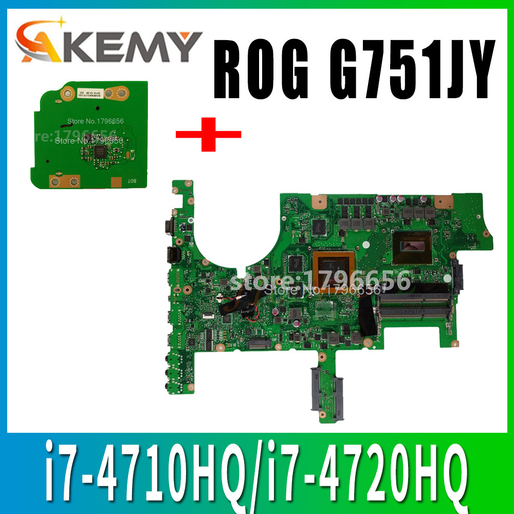 Send-board+ <font><b>G751JY</b></font> <font><b>Motherboard</b></font> GTX980M/4GB i7-4710HQ/i7-4720HQ For ASUS G751 G751J <font><b>G751JY</b></font> G751JL laptop Mainboard test ok image