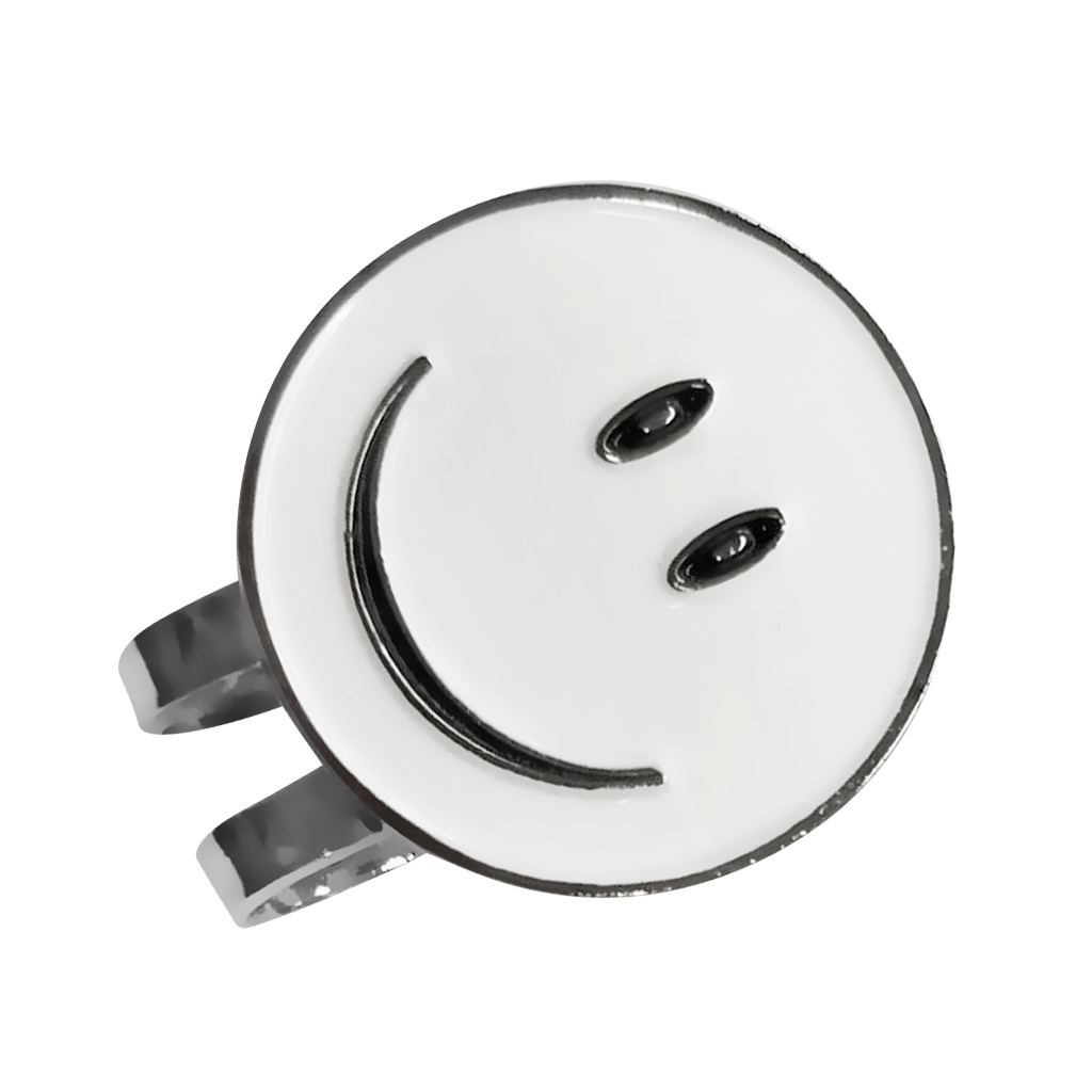 White Smile Face Golf Ball Marker With Magnetic Golf Hat Clip - Clips Fit Easily Onto Any Caps, Belts And Pockets