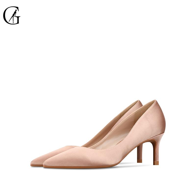 GOXEOU женские туфли-лодочки на высоком каблуке с Атлас телесного цвета женские ботинки черного цвета с острым носком и на возраст 6, 8, 10 см обув...