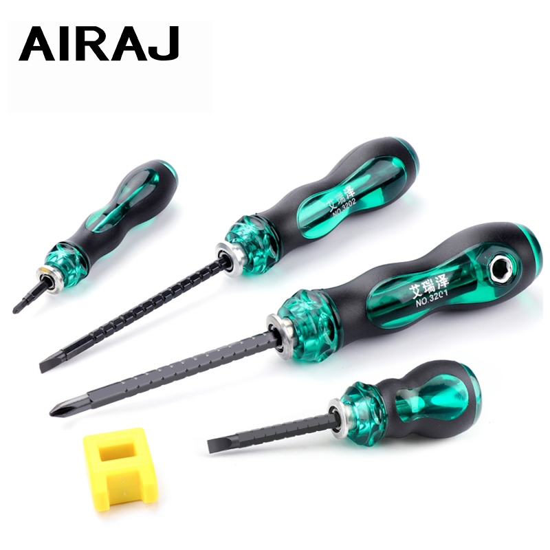AIRAJ Telescopic Dual-purpose Screwdriver With A Cross/Short Handle/Long Handle Multi-function Screwdriver, Gift Plus Magnet