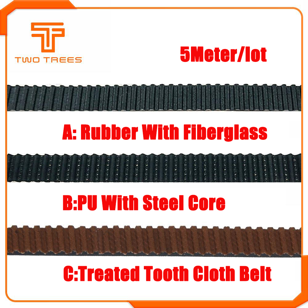 GT2 Open Timing Belt GT2-6mm 6mm for 3D Printer Parts Black Rubber 1M 2M 3M 5M