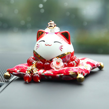 Lucky cat car decoration ceramic trumpet Japanese style cute creative car decorations lucky wealth security christmas gift  home