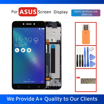 100% Tested 5.0 LCD Display for ASUS Zenfone Live ZB501KL Display with Touch Screen Digitizer Assembly Frame Replacement Parts weida for asus zenfone 2 laser ze500kl z00ed lcd display touch screen digitizer assembly 5 0 inch with frame tool