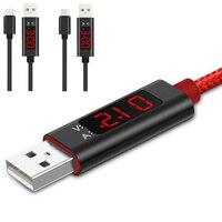 Indicatore di carica Tester USB 1M tipo C Display misuratore di corrente di tensione Nylon intrecciato per cavo di tipo C per Samsung S9/Android