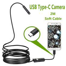 Endoscopio con cámara USB tipo C, 7,0mm, Android, PC, 2m, boroscopio Flexible de inspección de serpiente, cámara con 6LED ajustable