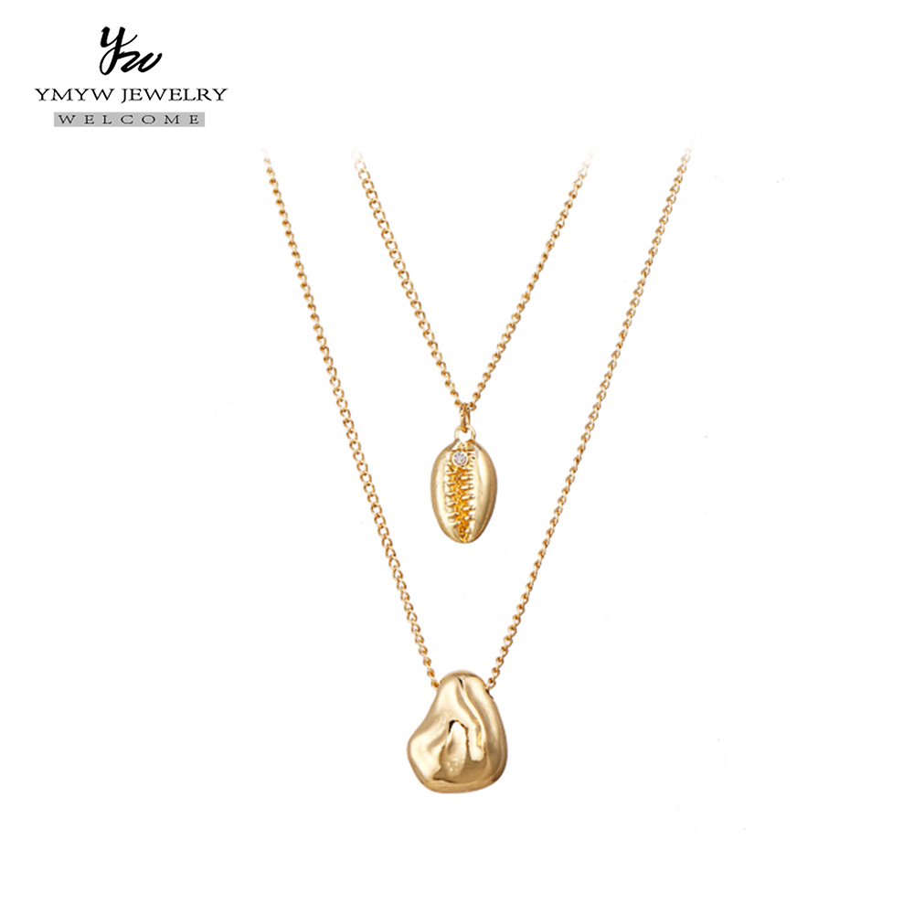 YMYW Zinc Alloy Gold Double Layers Pendant Necklaces Personalized Metal Chain Choker Charm Women Necklace Birthday Jewelry Gift