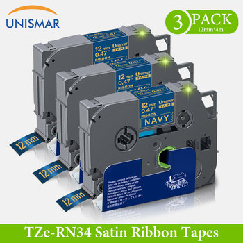 Unismar 3PK Non-adhesive ribbon TZe-RN34 Gold on Navy 12mm TZe RN34 TZeRN34 Satin Ribbon Tapes for Brother P-Touch Label Printer