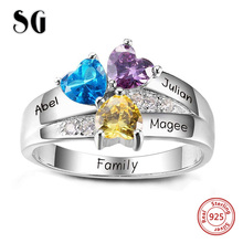 SG 925 Sterling Silver Rings Personalized Custom Heart Birthstone Ring With 3 Names Jewelry for Her Mother day's Gift uny ring 925 sterling silver mother customized engrave rings family heirloom ring anniversary personalized love birthstone rings