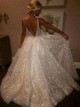 vestidos noiva 2019 Sparkly Beach Wedding Dress Spaghetti Straps Backless Bridal Dresses A Line Plus Size