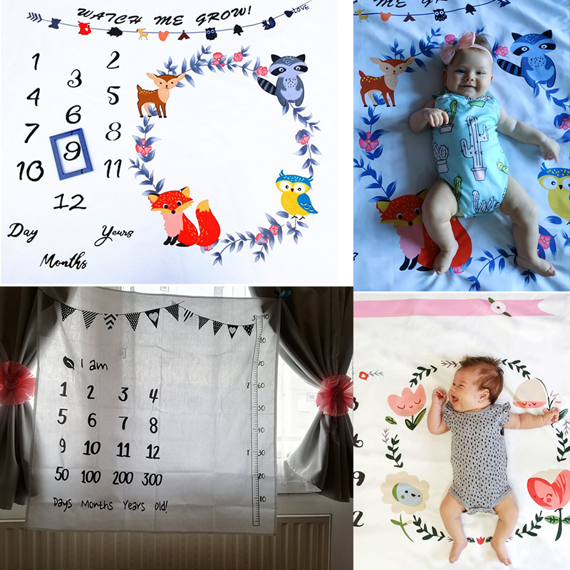Cartoon Pattern Infant Baby Milestone Photo Props Background Blankets Backdrop Cloth Calendar Bebe Boy Girl Photo Accessories