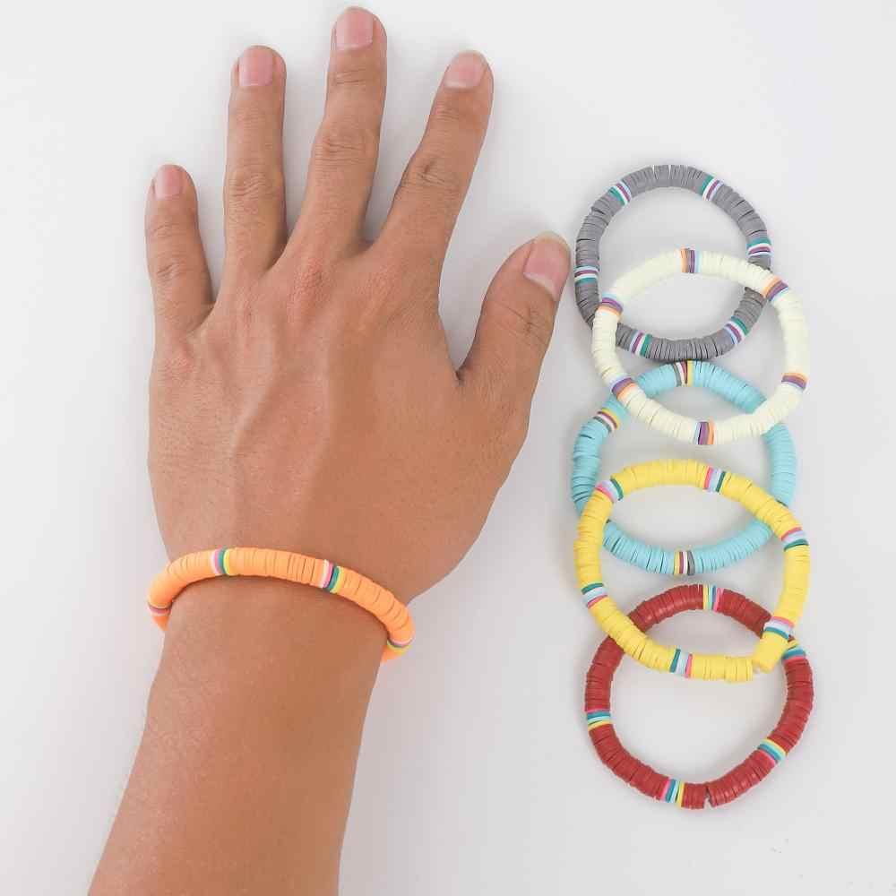 G.YCX โบฮีเมียโพลิเมอร์ไวนิล Surfer Heishi ลูกปัดสร้อยข้อมือผู้หญิงผู้ชาย Handmade แผ่นสร้อยข้อมือลูกปัดธรรมชาติ TUBULAR เครื่องประดับ