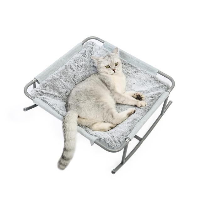 Pet Cat Bed Soft Plush Nest Cat Hammock Detachable Mat Pet Bed with Dangling Ball for Cats Small Dog Squar Tumbler Rocking Chair 5