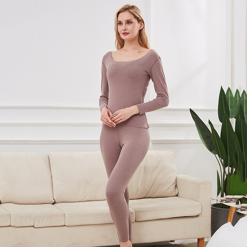 Thermal Underwear Women's Winter Plus Velvet Solid Color Round Neck Seamless Thermal Suit Ladies Autumn Clothes Long Trousers