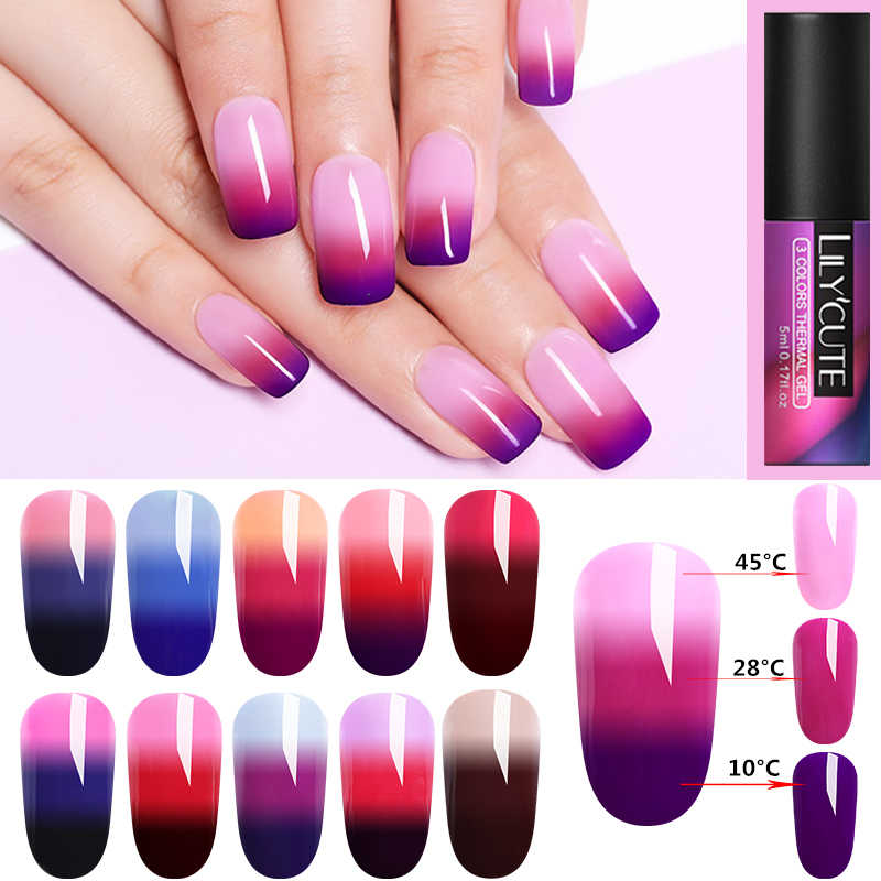 LILYCUTE 5Ml 3-Lapisan Warna Berubah UV Gel Polandia Payet Thermal Kuku Gel Polandia Matte Top Coat Rendam off Nail Art Gel Var