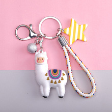 Fashion Epoxy Three-dimensional Cute Alpaca Keychain Cartoon Little Sheep Girl Keyring  Bag Pendant Gift