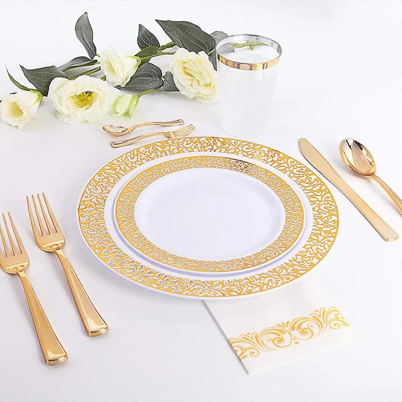 60pcs lot Wedding party home supplie Plastic Party Plates for 10 people party Gold Disposable Plates Plastic Wedding Supplies