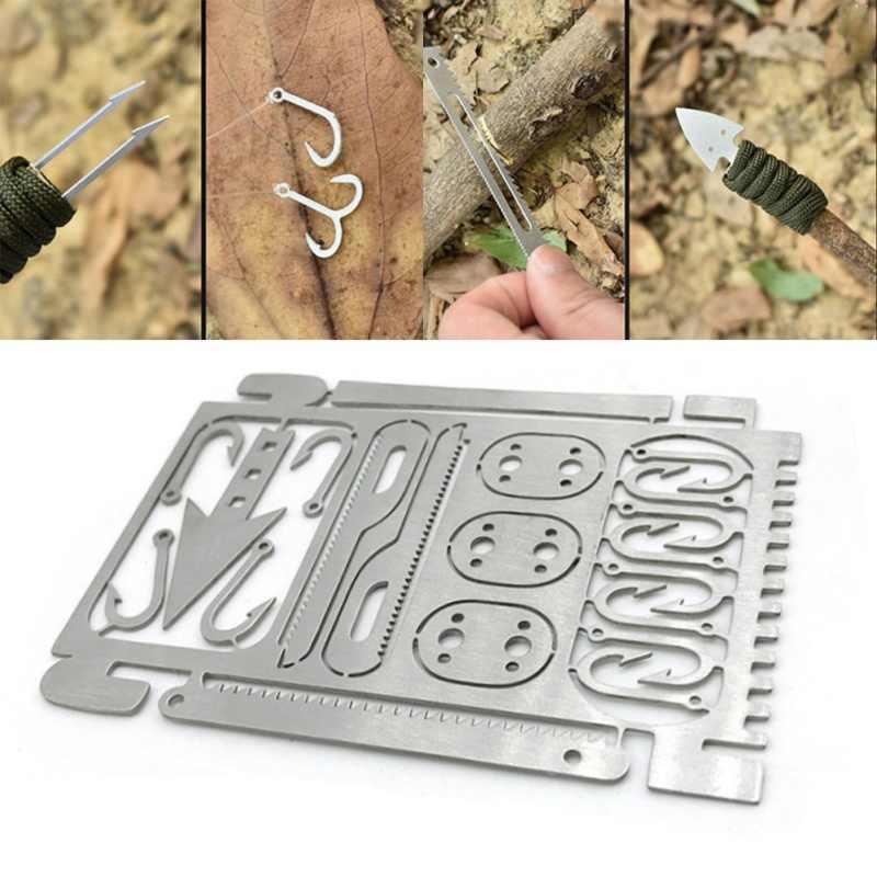 Multifunction Camping Survival Tool Fishing Hook Card Hunting Emergency Edc rfhg