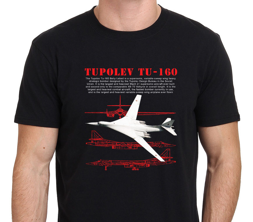 Russian Supersonic Bomber <font><b>Tupolev</b></font> Tu 160 Men'S Black Size S To Xxxl 2018 Short Sleeve Cotton T Shirts Man Clothing 012079 image