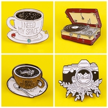 I need my space Coffee cup Pins Badge Zinc Alloy Cartoon Badges Metal Anime brooch Pin Retro camera record Badges for Clothes zinc alloy artificial diamond crown pin brooch silver