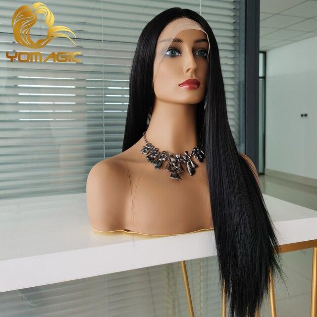 Yomagic-pelucas con encaje frontal para mujer, pelo sintético de Color negro, minimechones, liso, sin pegamento, prearrancado 3