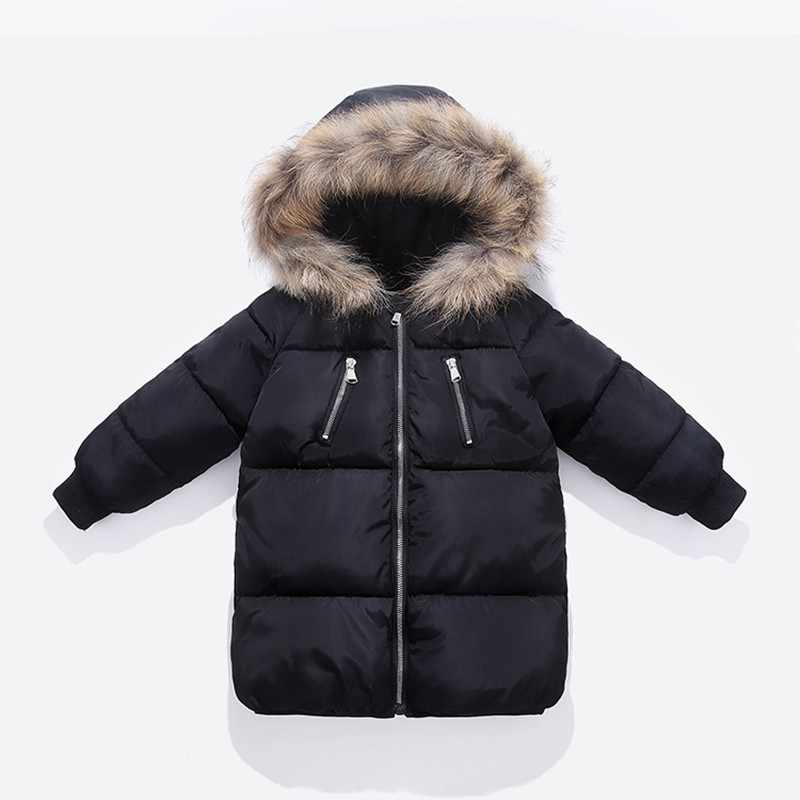COOTELILI  Cotton Winter Jacket For Boys Girls Real Raccoon Fur Hat Winter Coat For Boys Long Style Kids Parka Children Clothing