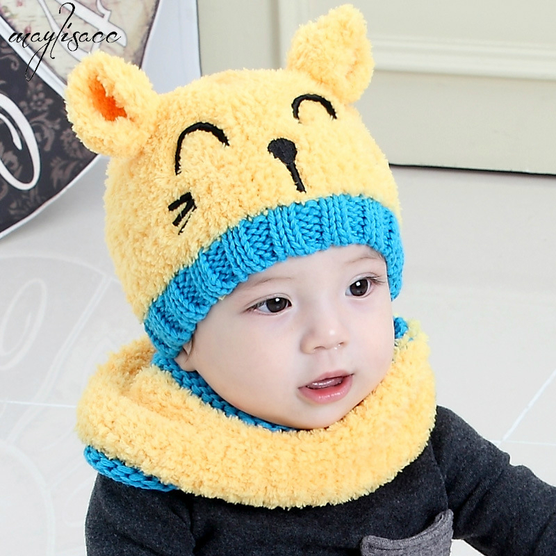 1-4 Years Old Children Skullies&beanies Hat Scarf Set Winter Hats For Boys And Girls Warm Hat Scarf Two-piece Suit 4 Color