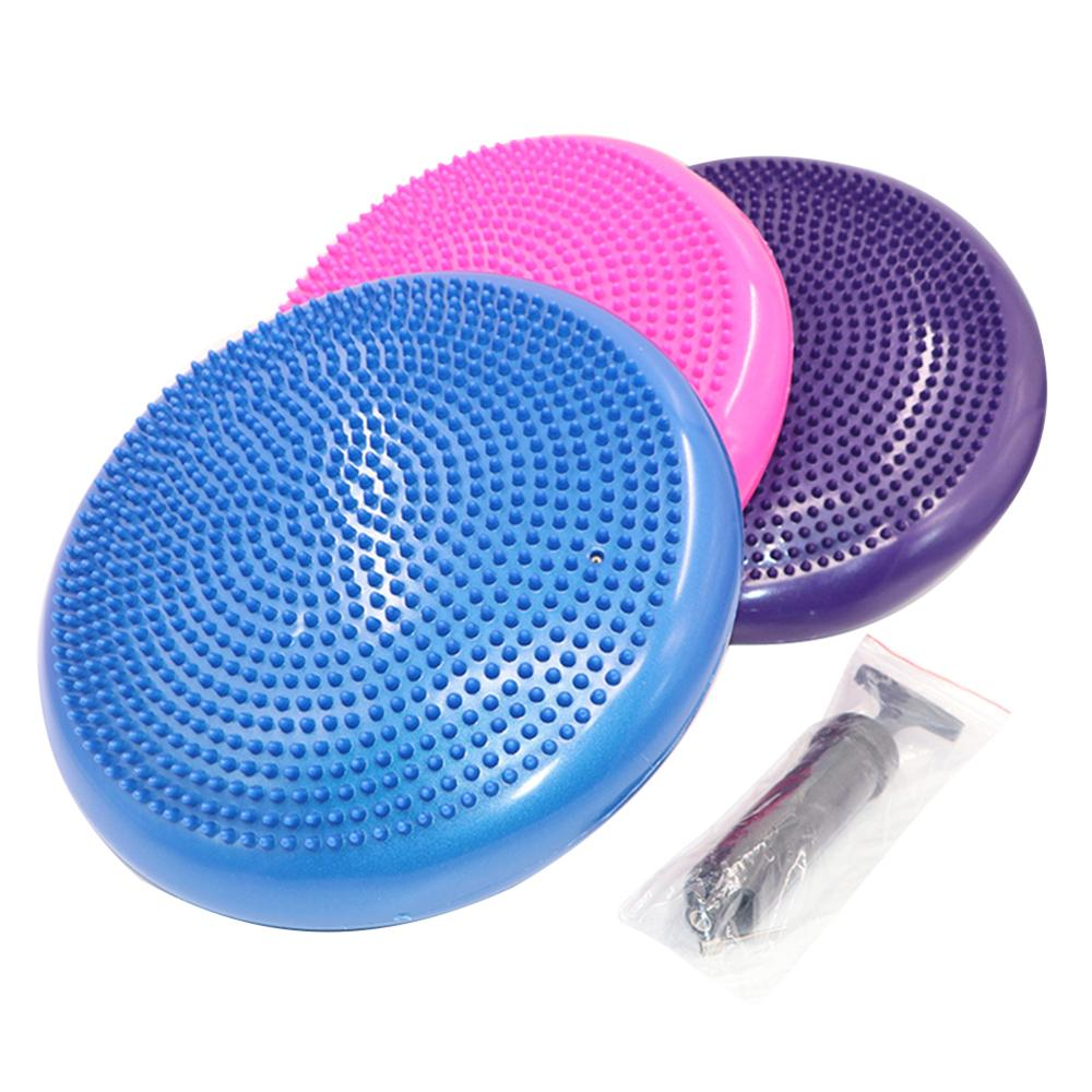 Inflatable Yoga Balanced Ball Fitness Massage Plate Cushion Stability Disc Wobble Pad Ankle Knee Board Cushion Mat With Pump