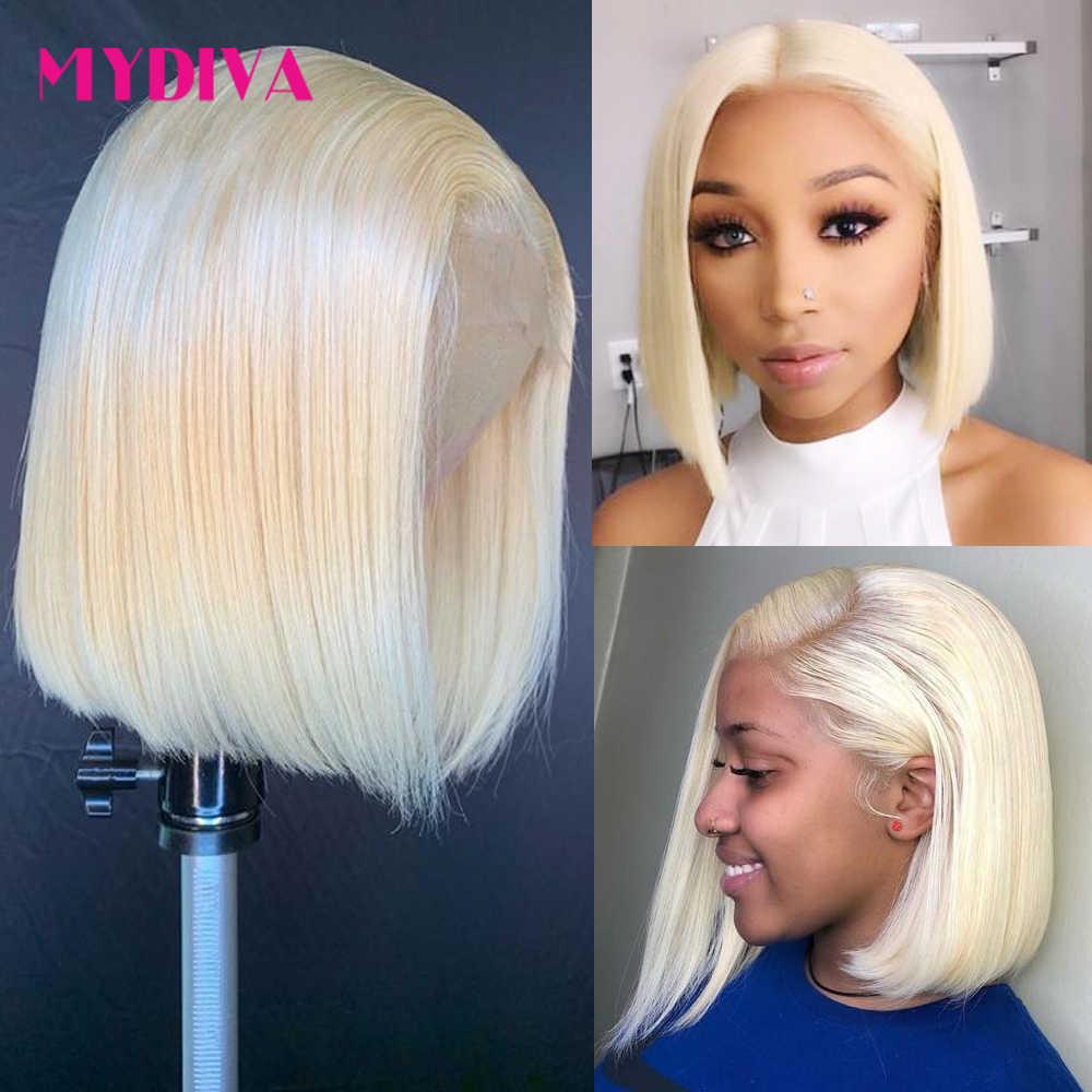 Lijmloze 613 Blonde 13X4 Lace Front Menselijk Haar Pruiken Bob Braziliaanse Rechte Kant Voor Pruik Pre Geplukt Remy lace Pruiken Voor Zwarte