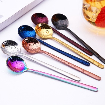 Offre sp ciale cuill res en acier inoxydable t te ronde poign e cuill re color