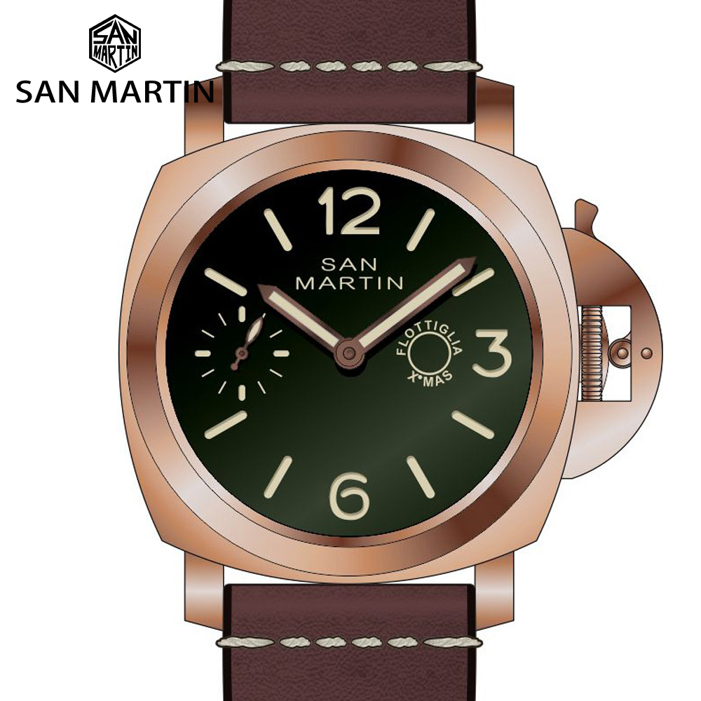 San Martin Retro Diver Sapphire See-through Case Back Tin Bronze Limited Edition Seagull Mechanical Hand Wind Men Watch Luminous