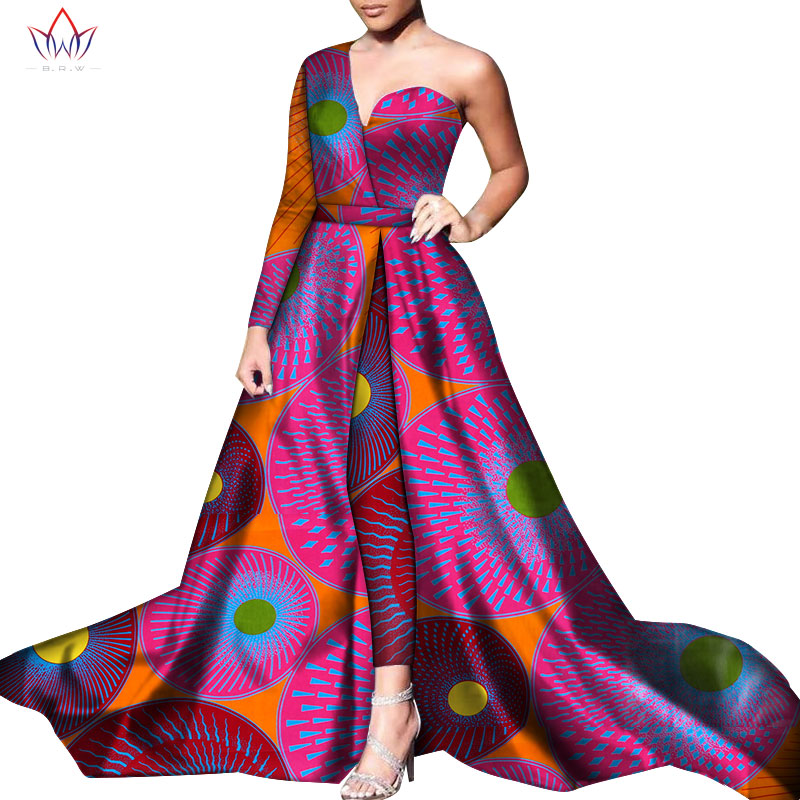 2pcs BazinRiche African One Shoulder Dresses And Pant Set Dashiki African Dresses For Women African Clothes Dress Trouser WY6055