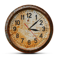 Retro Age Rusty Old Decor Clock 3D illusion Effect Acrylic Wall Clock Primitive Timepiece Hanging Wall Watch