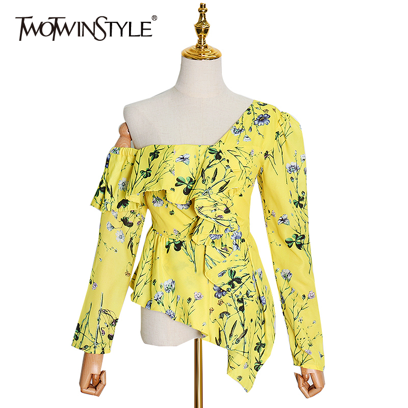 TWOTWINSTYLE Print Floral Blouses Female Skew Collar Long Sleeve Ruffle Off Shoulder Sexy Women Shirt 2020 Clothing Fashion Tide