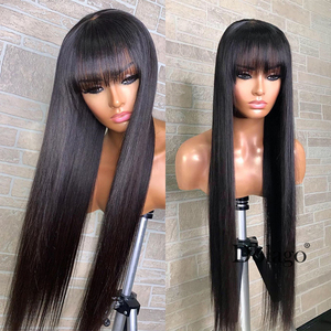 360 Lace Frontal Wig With Bangs 13x6 Straight Lace Front Human Hair Wigs 250 Density Brazilian Fake Scalp Full Lace Wig Dolago(China)