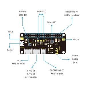 Image 2 - Keyestudio 5V ReSpeaker 2 Mic Pi HUT V 1,0 Expansion Board Für Raspberry Pi 4B/Null/Null W/B +/3B +/3B