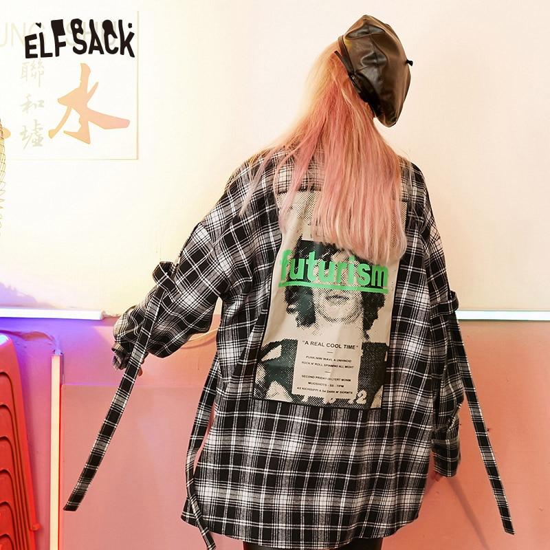 ELFSACK Green Vintage Plaid Women Shirt 2019 Autumn Fashion Letter Appliques Korean Female Blouses Streetwear Oversize Tops