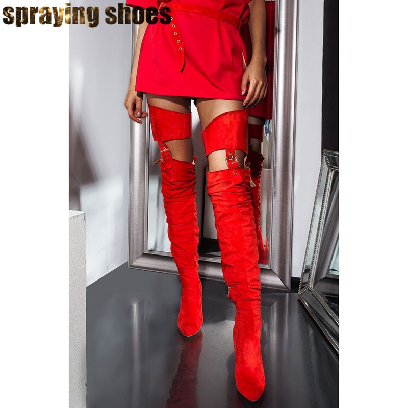 Wild <font><b>Sexy</b></font> Belted Thigh High Boots Women Chunky Heels Pointy Toe Winter Boots Red Fashion Ladies Shoes <font><b>Chap</b></font> Boots Woman 2019 image