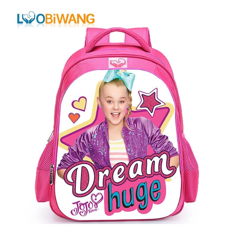 LUOBIWANG Jojo Siwa Children's School  Backpacks For Girls 3-6 Year Old Kids Cartoon School Bags Waterproof Bookbag Plecak