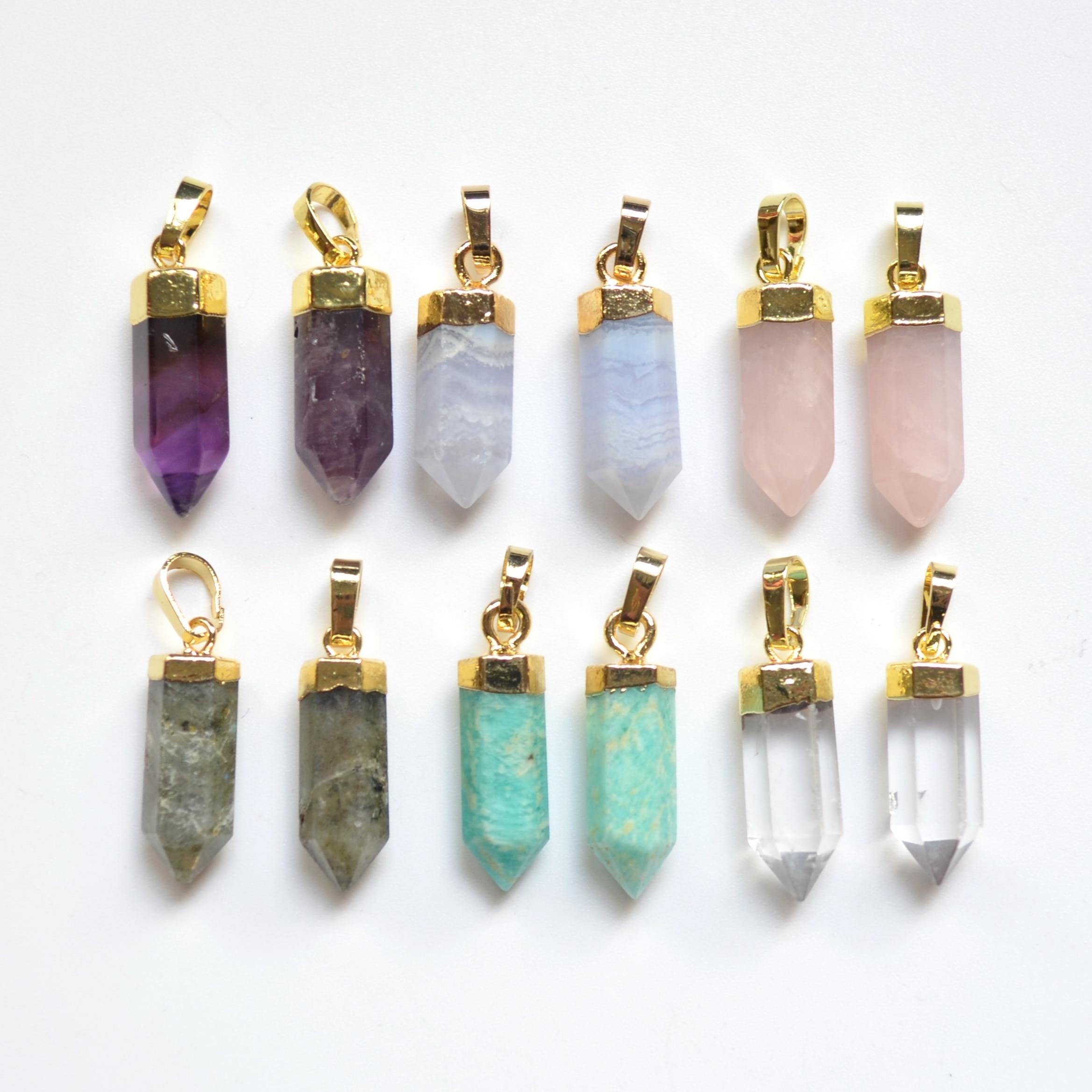 Neue amazonit/amethysten/labradorit/rosa kristall stein facted punkt anhänger für schmuck|Anhänger|   - AliExpress
