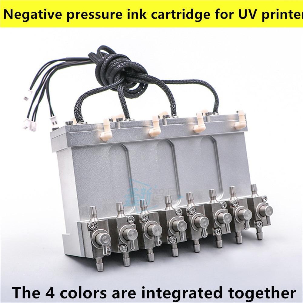 metal sub tank for imaxcan UV inkjet printer metal ink tank 4 valve Negative pressure ink cartridge for UV printer smal sub tank