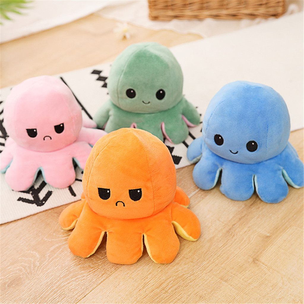 Stuffed Plush Reverse Toys Poulpe Retroflexion Octopu Soft Double-sided Flip Funny Emotion Pulpo Doll Peluches Squishy Plush Toy