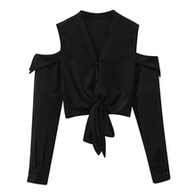 Blouse Women Blusas Mujer De Moda 2020 Long Sleeve Sexy Off Shoulder Top V-neck Black Chiffon Blouse Shirt Women Tops Blusa D500