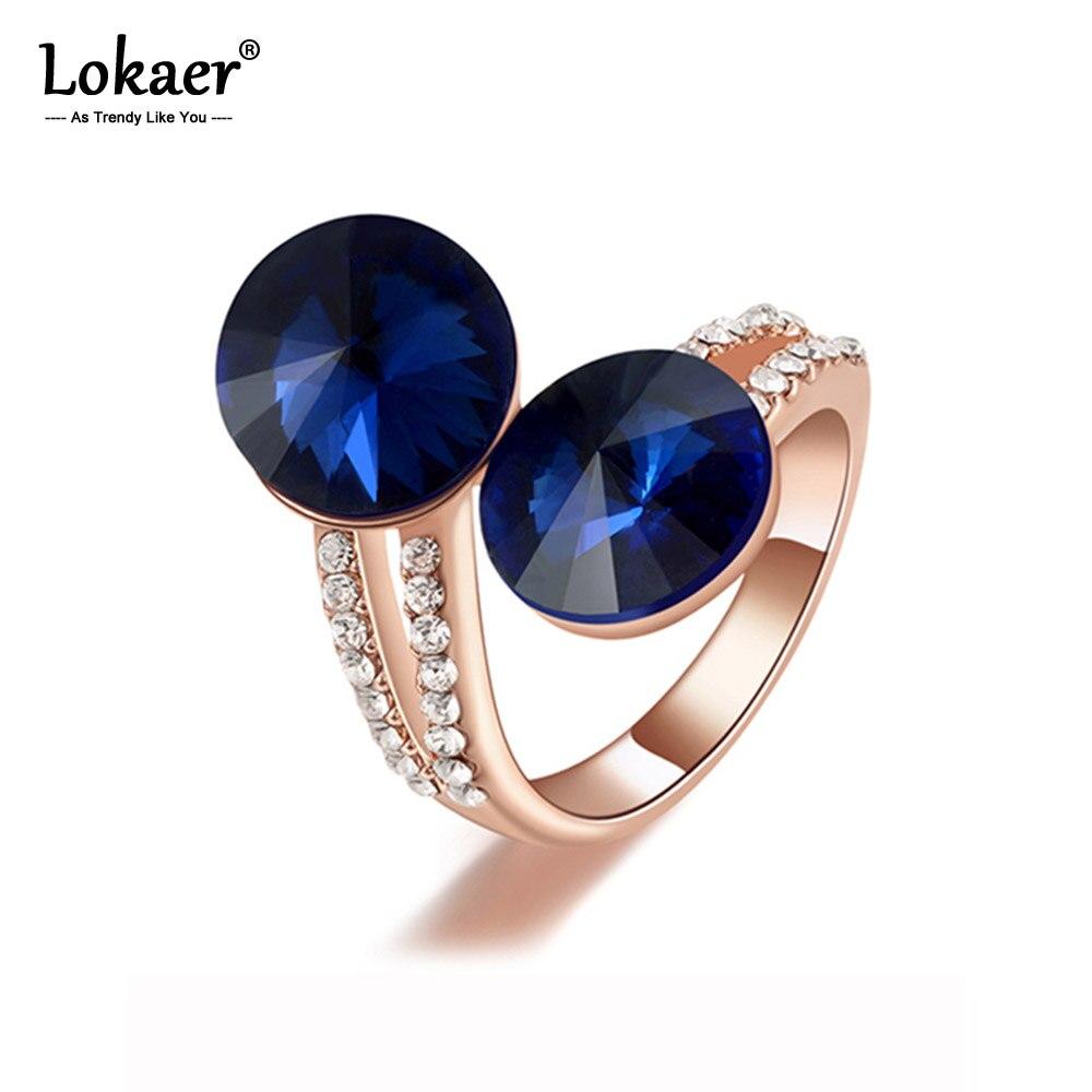 Lokaer Mode Ringe Doppel Dark Blue Zirkonia mit Österreichischen Kristall Umwelt Micro-Eingefügt Schmuck R15050