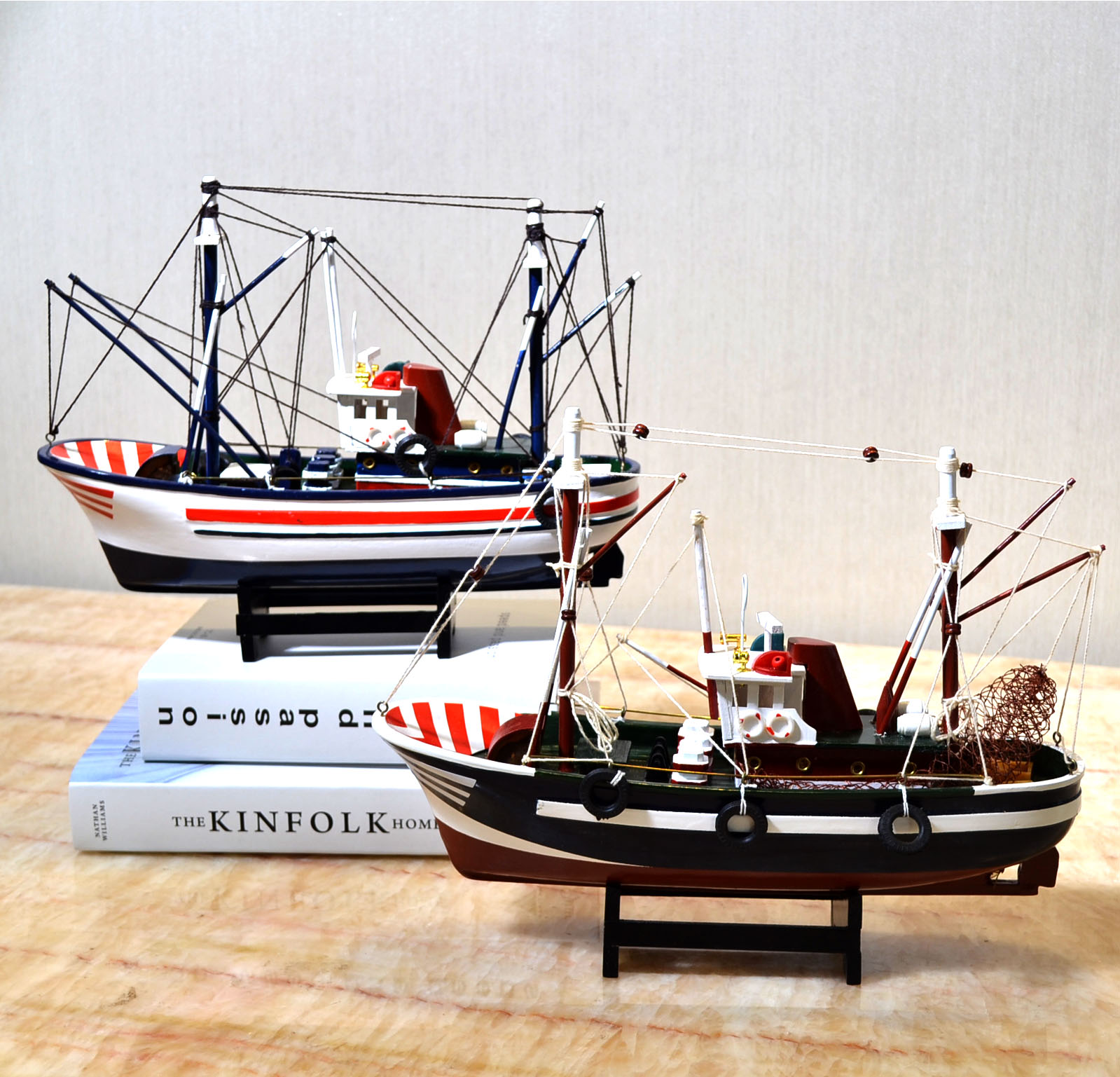 Style méditerranéen décoration de la maison bateau modèle en bois massif chambre d'enfants meublé avec voile lisse bateau de pêche bateau artisanal - 3
