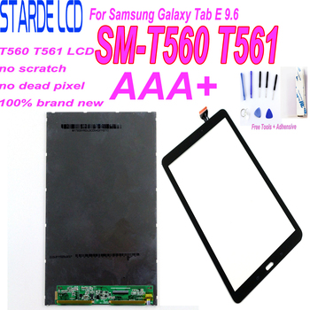 AAA+ Tested 100% For Samsung Galaxy Tab E 9.6 SM-T560 T560 T561 LCD Display + Touch Screen Digiitzer Glass Panel Repair Part new touch screen glass panel for nt620c st141 e nt620c st141 ek nt620c st142 repair